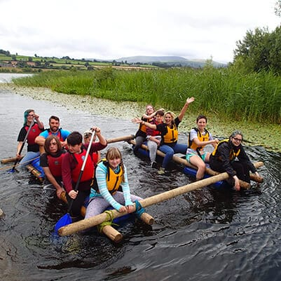 Group activities in North Devon - raft building