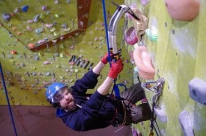 Instructor Isaac on a dry tooling night